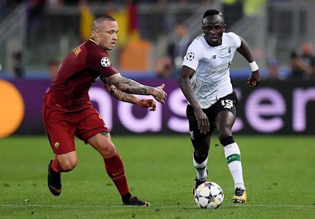 "<a class=""link rapid-noclick-resp"" href=""/soccer/teams/liverpool/"" data-ylk=""slk:Liverpool"">Liverpool</a>'s Sadio Mane races past <a class=""link rapid-noclick-resp"" href=""/soccer/teams/roma/"" data-ylk=""slk:Roma"">Roma</a>'s <a class=""link rapid-noclick-resp"" href=""/soccer/players/372241/"" data-ylk=""slk:Radja Nainggolan"">Radja Nainggolan</a> in their Champions League semifinal second leg. (Reuters)"