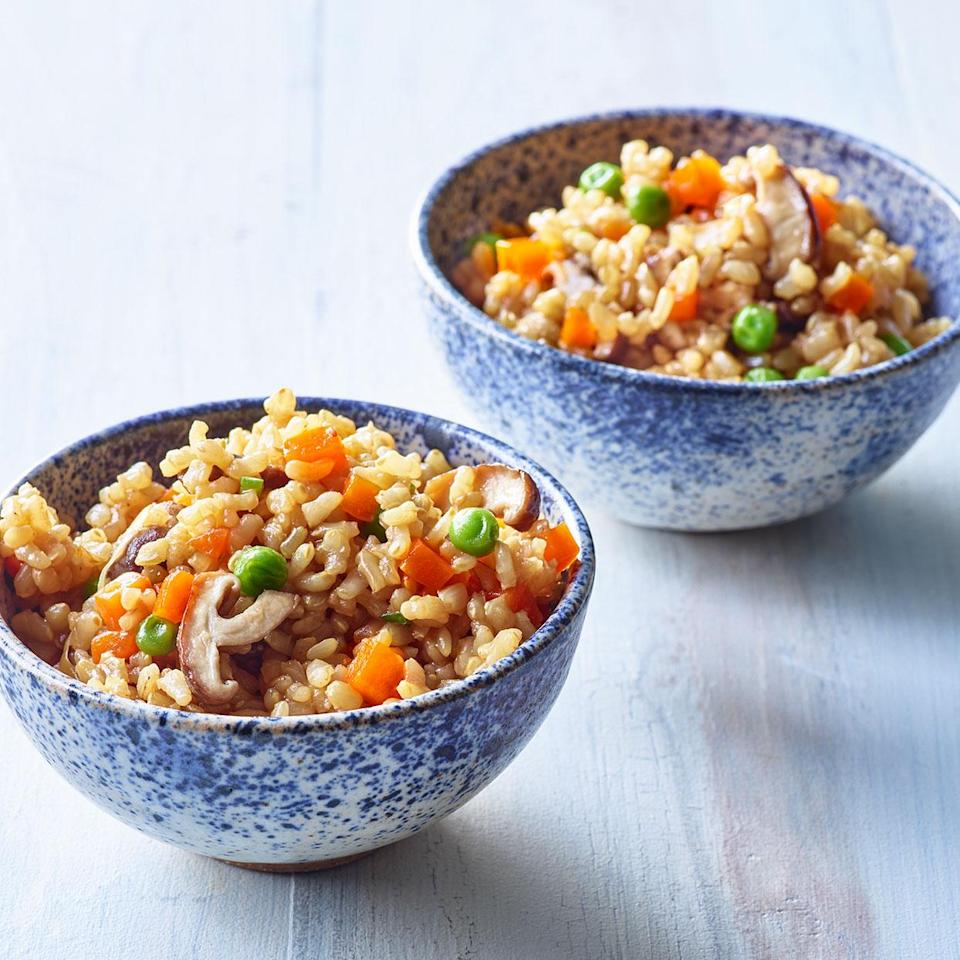 <p>Dashi gives this vegetable rice recipe its savory depth. Rinsing the rice may seem like an extraneous step but it removes some of the surface starch for fluffier rice. And soaking the rice in seasoned dashi before cooking infuses the dish with more flavor.</p>