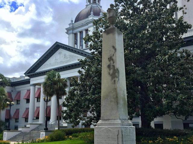 There are a number of Confederate statues and street signs across Florida, including this monument to Confederate soldiers outside the capitol building in Tallahassee: AP