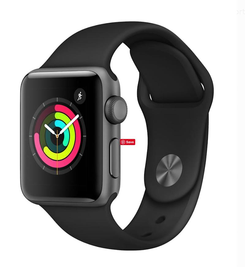 Apple Watch Series 3 GPS, 38mm, Sport Band, Aluminum Case in Space Gray / Black. (Photo: Walmart)