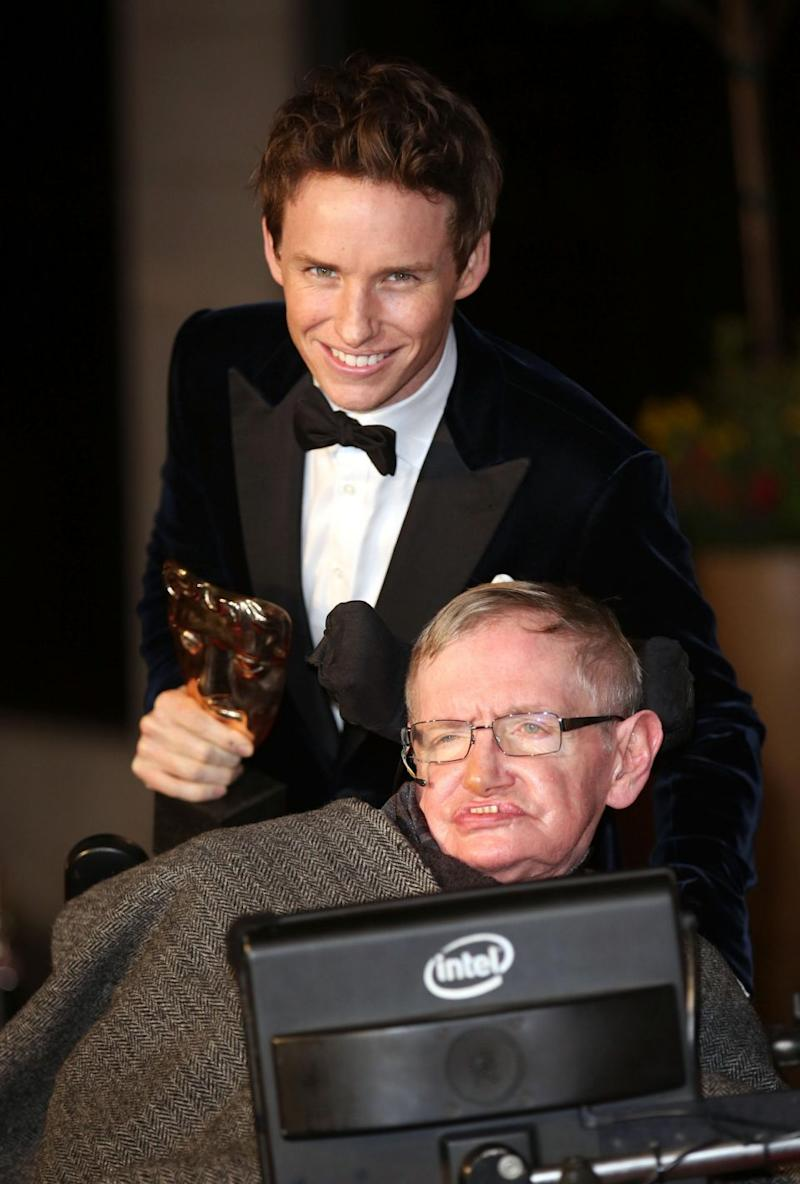 Eddie Redmayne and Stephen Hawking are here together at the 2015 BAFTAs. Source: Getty