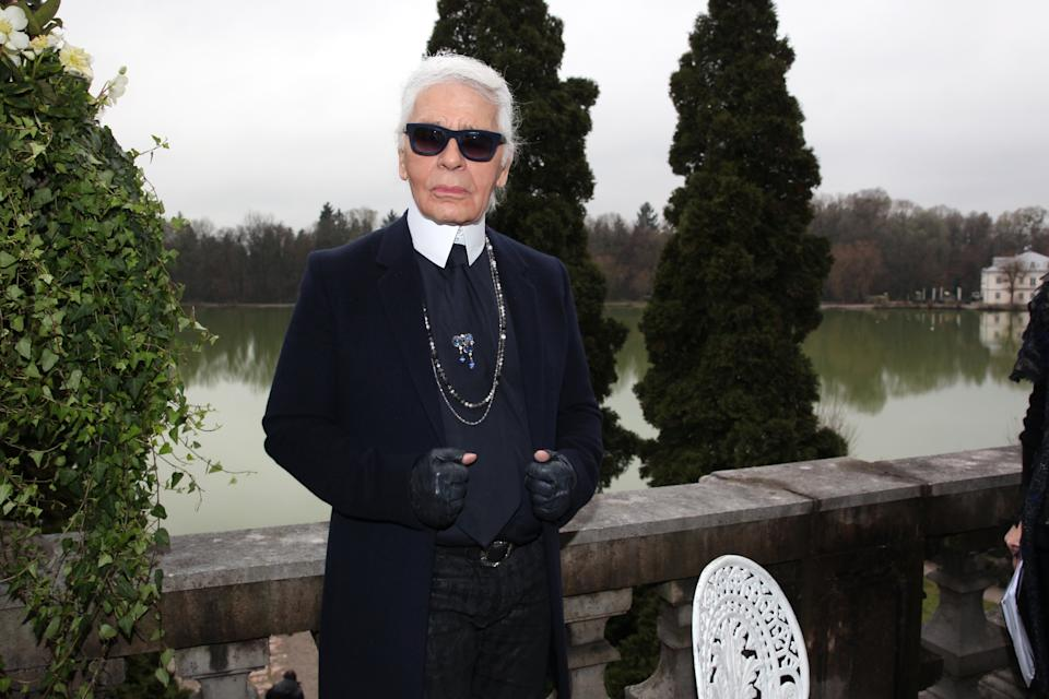 SALZBURG, AUSTRIA - DECEMBER 02: Designer Karl Lagerfeld during the Chanel Metiers d'Art Collection 2014/15 Paris-Salzburg on December 2, 2014 in Salzburg, Austria.  (Photo by Gisela Schober/Getty Images)