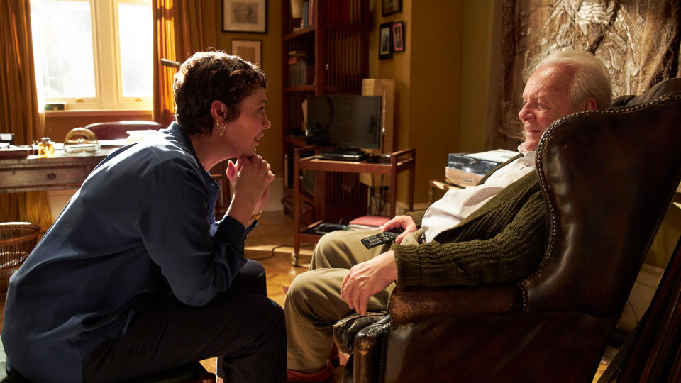 Olivia Colman and Anthony Hopkins were both awards season fixtures for their work in 'The Father'. (Sean Gleason/Lionsgate)