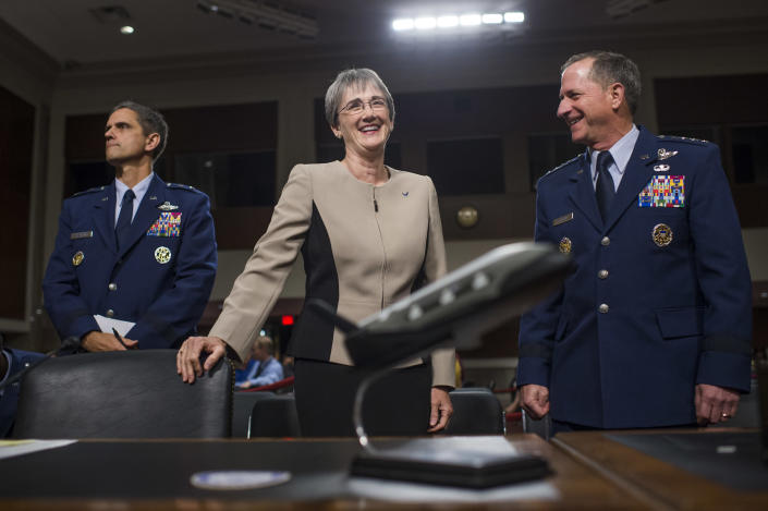 """<span class=""""s1"""">Air Force brass Heather Wilson, center, and Gen. David L. Goldfein, right, prepare for a hearing on on the Defense Authorization Request for Fiscal Year 2018 and the Future Years Defense Program in June 2017. (Photo: Tom Williams/CQ Roll Call)</span>"""