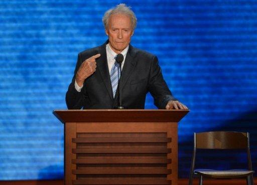Actor-director Clint Eastwood speaks to the audience at the Tampa Bay Times Forum in Tampa, Florida. The dancing started long before Mitt Romney took the stage, as jubilant Republicans launched a premature celebration, hoping they had picked the right man to oust Barack Obama from the White House in November