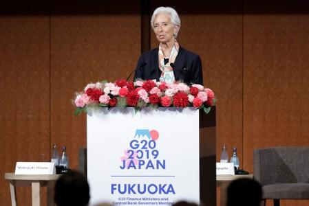 "Christine Lagarde, managing director of the International Monetary Fund (IMF), speaks at the Group of 20 (G-20) high-level seminar on financial innovation ""Our Future in the Digital Age"" in Fukuoka"