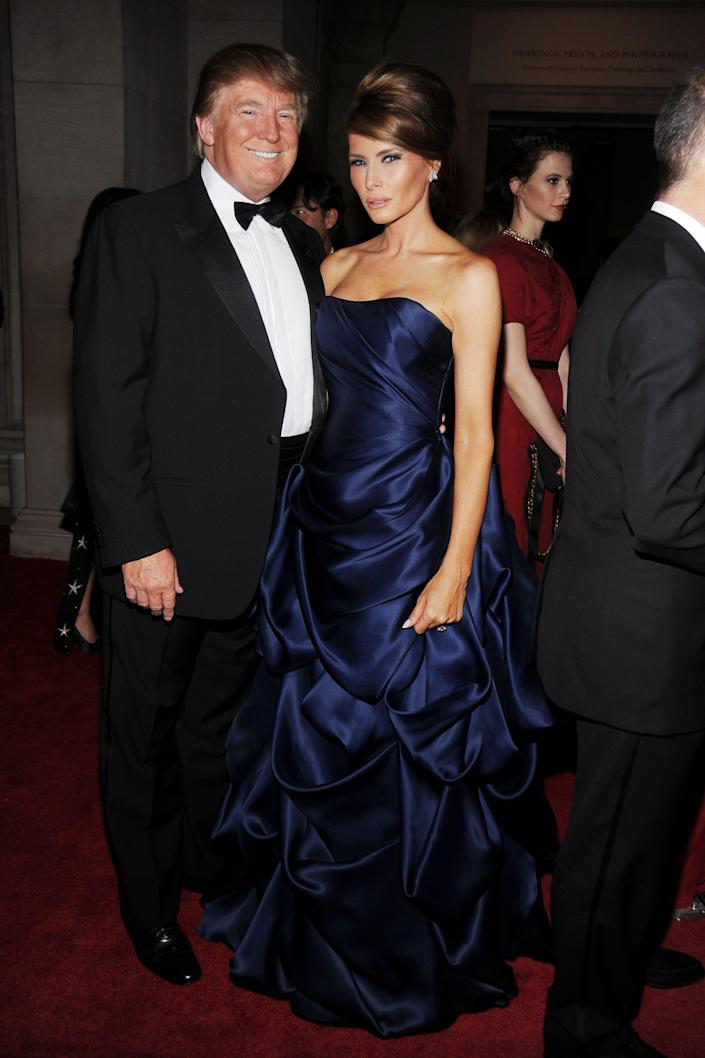 Donald Trump and Melania Trump attend the Met Gala in 2010