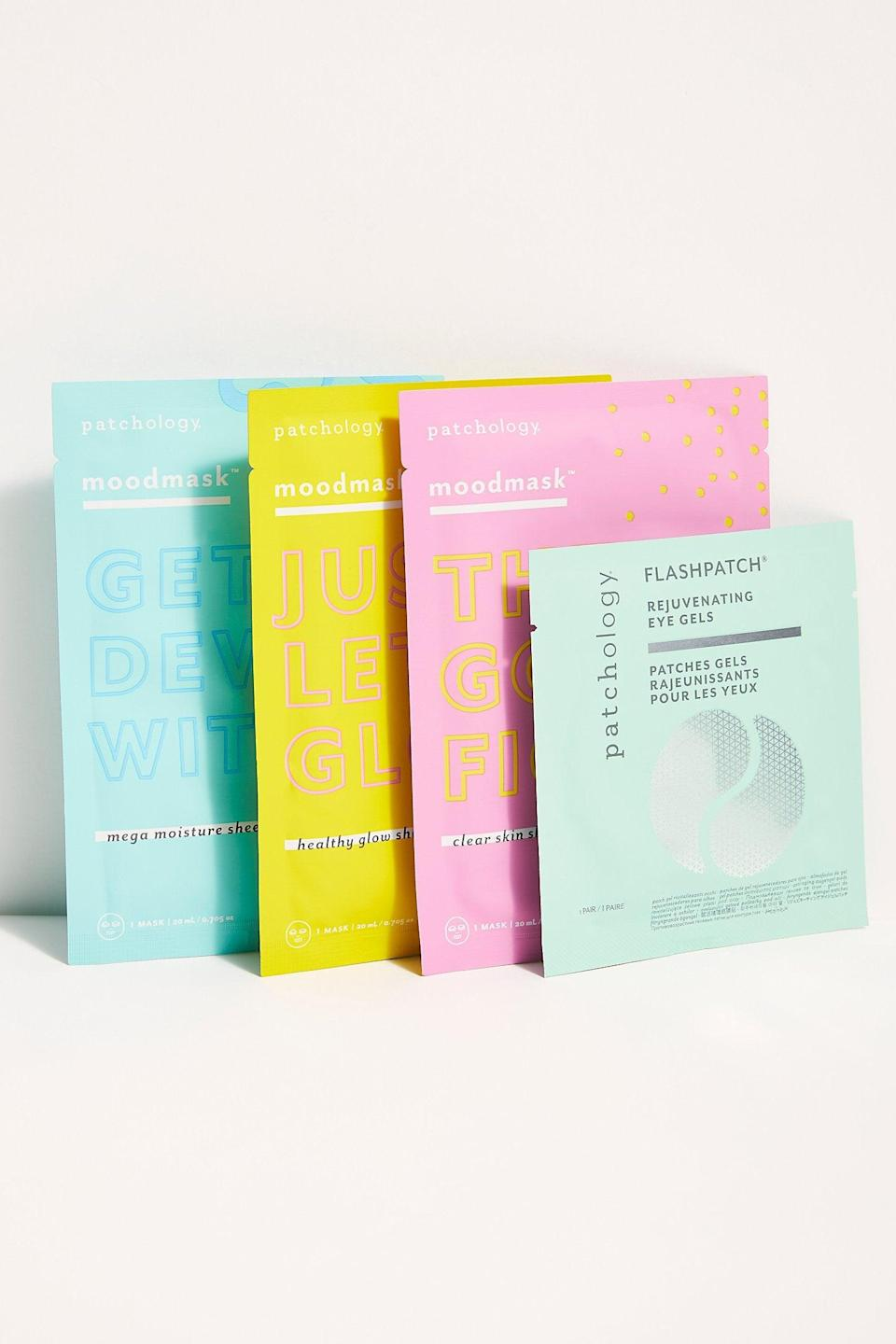 """<h2>Patchology All The Feels Masks Kit</h2><br>Your bestie's skin — like their winning personality — is multi-dimensional, and a one-trick mask won't suffice. Patchology's set contains three masks — one to clear up blemishes, one to promote a healthy glow, and one to hydrate — in addition to a set of rejuvenating eye gels, to cover every facet of skin that can't be boxed in.<br><br><em>Shop <strong><a href=""""https://www.freepeople.com/"""" rel=""""nofollow noopener"""" target=""""_blank"""" data-ylk=""""slk:Free People"""" class=""""link rapid-noclick-resp"""">Free People</a></strong></em><br><br><strong>Patchology</strong> All The Feels Masks Kit, $, available at <a href=""""https://go.skimresources.com/?id=30283X879131&url=https%3A%2F%2Fwww.freepeople.com%2Fshop%2Fpatchology-all-the-feels-masks-kit%2F%3Fcategory%3Dface-masks%26color%3D000"""" rel=""""nofollow noopener"""" target=""""_blank"""" data-ylk=""""slk:Free People"""" class=""""link rapid-noclick-resp"""">Free People</a>"""