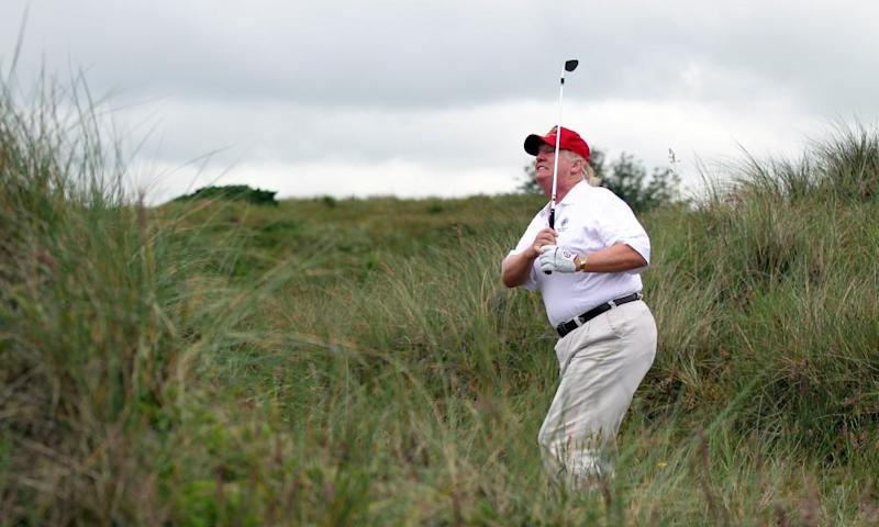 The US president, Donald Trump, during a round of golf at his Aberdeenshire resort.