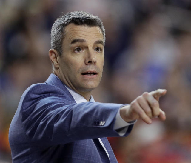 FILE - In this Monday, April 8, 2019 file photo, Virginia head coach Tony Bennett directs his team during the first half against Texas Tech in the championship game of the Final Four NCAA college basketball tournament in Minneapolis. Tony Bennetts first offseason as a national champion coach has come with benefits on the recruiting trail. His first season at Virginia after winning the title, however, will bring challenges. (AP Photo/David J. Phillip, File)