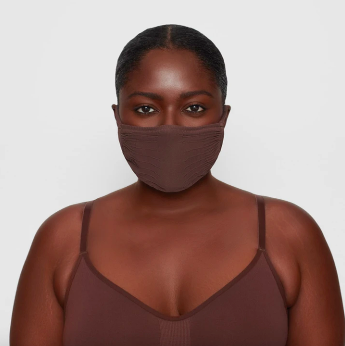 Adult Seamless Knit Face Mask in Cocoa. Image via skims.com