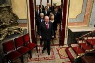 FILE PHOTO: Former Spanish King Juan Carlos and former Spanish Queen Sofia arrive for a ceremony marking the 40th anniversary of the 1978 Spanish Constitution, followed by Spanish Prime Minister Pedro Sanchez and former Spanish Prime Ministers Jose Maria Aznar, Mariano Rajoy and Felipe Gonzalez, at the Spanish Parliament in Madrid