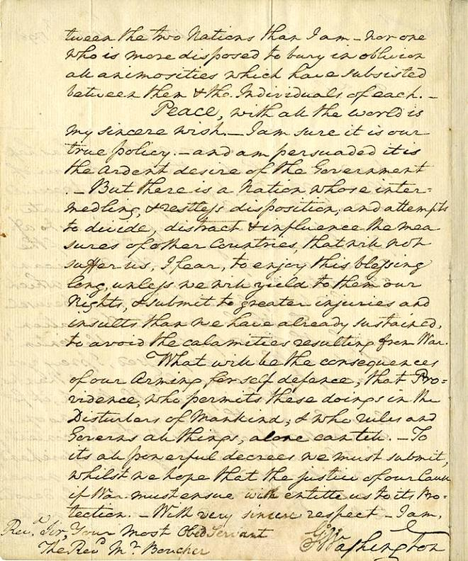 This undated photo provided by Profiles in History shows the final page of page of a letter hand written by George Washington. The letter will be offered at auction by Profiles in History on Dec. 18, 2012. (AP Photo/Profiles in History)