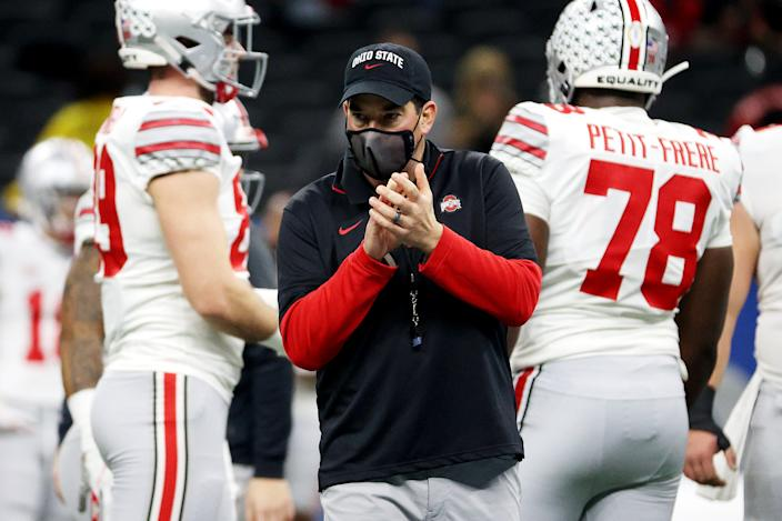 Ohio State coach Ryan Day walks on the sideline before the College Football Playoff semifinal game against Clemson on Jan. 1. (Chris Graythen/Getty Images)