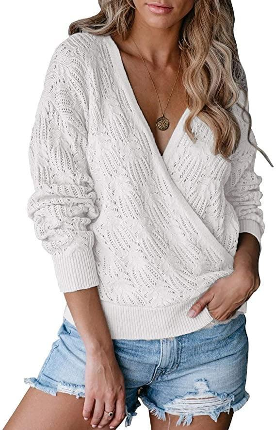 <p>We love the crocheted details of this <span>Syzri Wrap Deep V Floral Crochet Pullover</span> ($22-$28).</p>