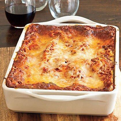 "<p>A container of refrigerated pesto adds distinctive flavor to this basic beef-and-cheese lasagna, and the unbaked lasagna can be frozen for up to three months. </p><p><a href=""https://www.myrecipes.com/recipe/vanessas-make-ahead-beefy-lasagna"" rel=""nofollow noopener"" target=""_blank"" data-ylk=""slk:Vanessa's Make-Ahead Beefy Lasagna Recipe"" class=""link rapid-noclick-resp"">Vanessa's Make-Ahead Beefy Lasagna Recipe</a></p>"