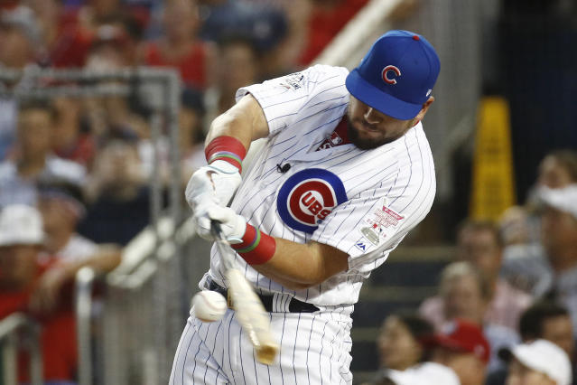Chicago Cubs Kyle Schwarber hits in the MLB Home Run Derby, at Nationals Park, Monday, July 16, 2018 in Washington. The 89th MLB baseball All-Star Game will be played Tuesday. (AP Photo/Patrick Semansky)