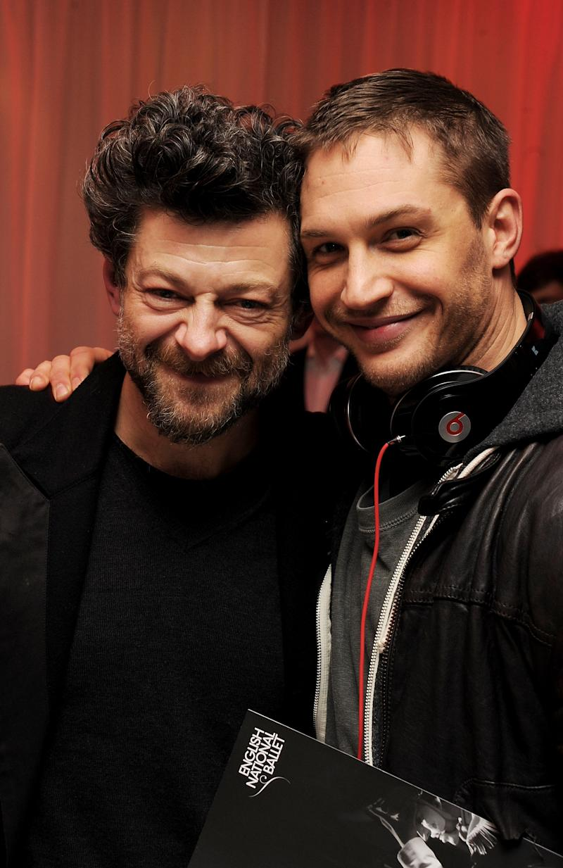 LONDON, ENGLAND - DECEMBER 15: (EMBARGOED FOR PUBLICATION IN UK TABLOID NEWSPAPERS UNTIL 48 HOURS AFTER CREATE DATE AND TIME. MANDATORY CREDIT PHOTO BY DAVE M. BENETT/GETTY IMAGES REQUIRED) Actors Andy Serkis (L) and Tom Hardy attend the pre-party for the English National Ballet's 'The Nutcracker' at St Martins Lane Hotel on December 15, 2010 in London, England. (Photo by Dave M. Benett/Getty Images)
