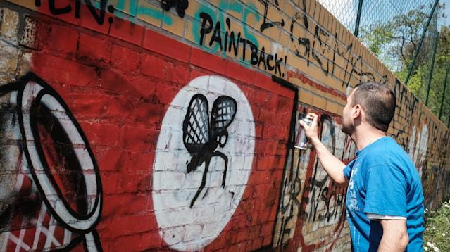 A post shared by LEGACY BLN Graffiti Art Store (@legacystorebln) on Apr 29, 2016 at 7:01am PDT Street artists in Berlin are responding to neo-Nazi hate symbols graffitied around the city in the best way: by turning them into playful art.