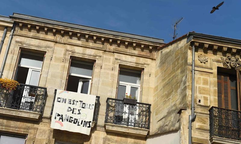 """A banner reading """"We are all pangolins"""" hangs on a balcony in Bordeaux, France"""