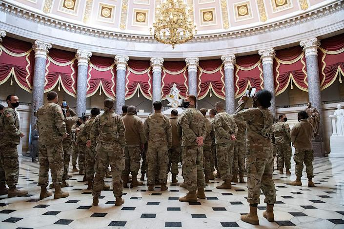 "<p>The Department of Defense <a href=""https://www.nytimes.com/2021/01/12/us/politics/national-guard-troops-armed-inauguration.html"" rel=""nofollow noopener"" target=""_blank"" data-ylk=""slk:announced on Tuesday"" class=""link rapid-noclick-resp"">announced on Tuesday</a> that the National Guard members who are stationed at the U.S. Capitol as part of the amped up security protocols will be armed, according to <em>The New York Times</em>. </p>"