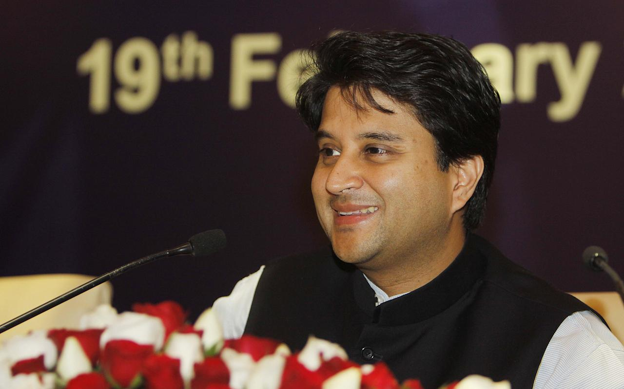 NEW DELHI, INDIA - FEBRUARY 19: Jyotiraditya M Scindia Minister of State for Power during a Press Conference after meeting of Advisory Group constituted by the Power Ministry to help resolve the issues impacting the sector's growth on February 19, 2013 in New Delhi, India. The Power Ministry would finalise the new bidding norms for power projects after discussions with the developers. (Photo by Sunil Saxena/Hindustan Times via Getty Images)