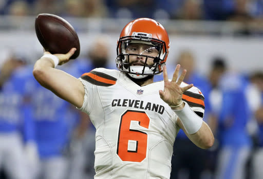 FILE - In this Aug. 30, 2018, file photo, Cleveland Browns quarterback Baker Mayfield throws during the first half of an NFL football preseason game against the Detroit Lions in Detroit. New York Jets quarterback Sam Darnold didnt have exactly what the Browns were looking for in a franchise quarterback. They passed on him and took Baker Mayfield with the No. 1 overall pick instead. On Thursday night, Darnold gets to show Cleveland if it made another mistake. (AP Photo/Duane Burleson, File)