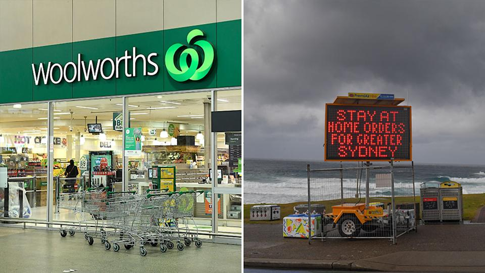 A Woolworths storefront is pictured left. A sign declaring stay-at-home orders are in place for Greater Sydney is on the right.