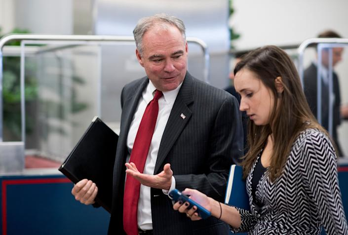 Sen. Tim Kaine (D-Va.) arrives in the Capitol for the Senate Democrats' policy lunch onNov. 16, 2016, after returning from the campaign trail.