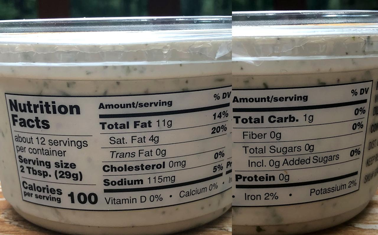<p>For a two-tablespoon serving, it's 100 calories, 11 grams of fat, four grams of saturated fat, 115 milligrams of sodium, only one gram of carbs, and zero grams of fiber, sugar, and protein.</p>