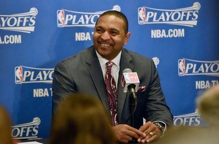 Apr 29, 2014; Los Angeles, CA, USA; Golden State Warriors head coach Mark Jackson during a press conference prior to the game between the Golden State Warriors and Los Angeles Clippers in game five of the first round of the 2014 NBA Playoffs at Staples Center. Kelvin Kuo-USA TODAY Sports