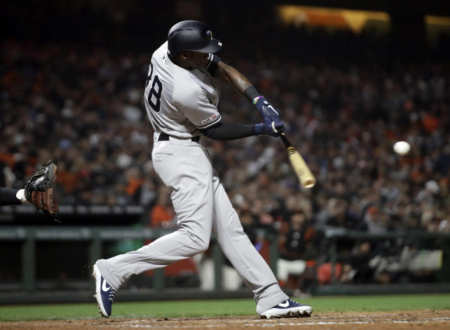 New York Yankees' Cameron Maybin swings on a pitch from San Francisco Giants' Madison Bumgarner in the sixth inning of a baseball game Friday, April 26, 2019, in San Francisco. (AP Photo/Ben Margot)