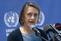 Lynn Hastings, of Canada, United Nations Deputy Special Coordinator for the Middle East Peace Process and Resident Coordinator and Humanitarian Coordinator for the Occupied Palestinian Territory speaks during a news conference at their compound following a cease-fire reached after an 11-day war between Gaza's Hamas rulers and Israel, Sunday, May 23, 2021, in Gaza City. (AP Photo/John Minchillo)
