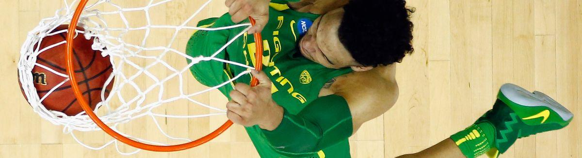 KANSAS CITY, MO - MARCH 25: Dillon Brooks #24 of the Oregon Ducks dunks the ball in the first half against the Kansas Jayhawks during the 2017 NCAA Men's Basketball Tournament Midwest Regional at Sprint Center on March 25, 2017 in Kansas City, Missouri. (Photo by Jamie Squire/Getty Images) Photographer: Jamie Squire/Getty Images North America