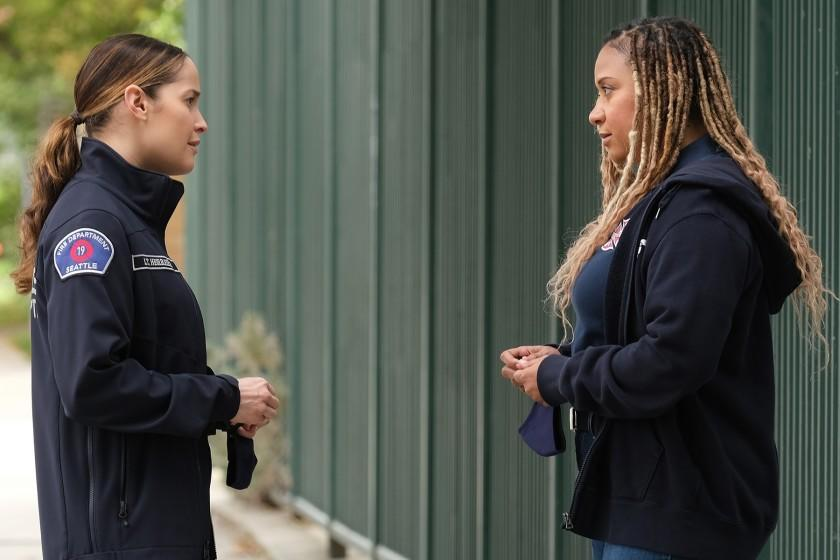 """Jaina Lee Ortiz, left, and Tracie Thoms in """"Station 19"""" on ABC."""