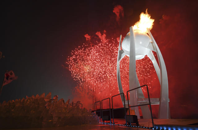 The Olympic torch at the Opening Ceremony in PyeongChang, South Korea.