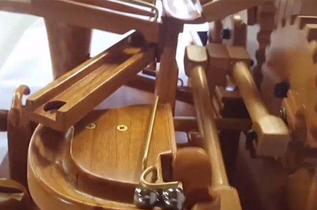 Creative woodworker builds unique marble contraption