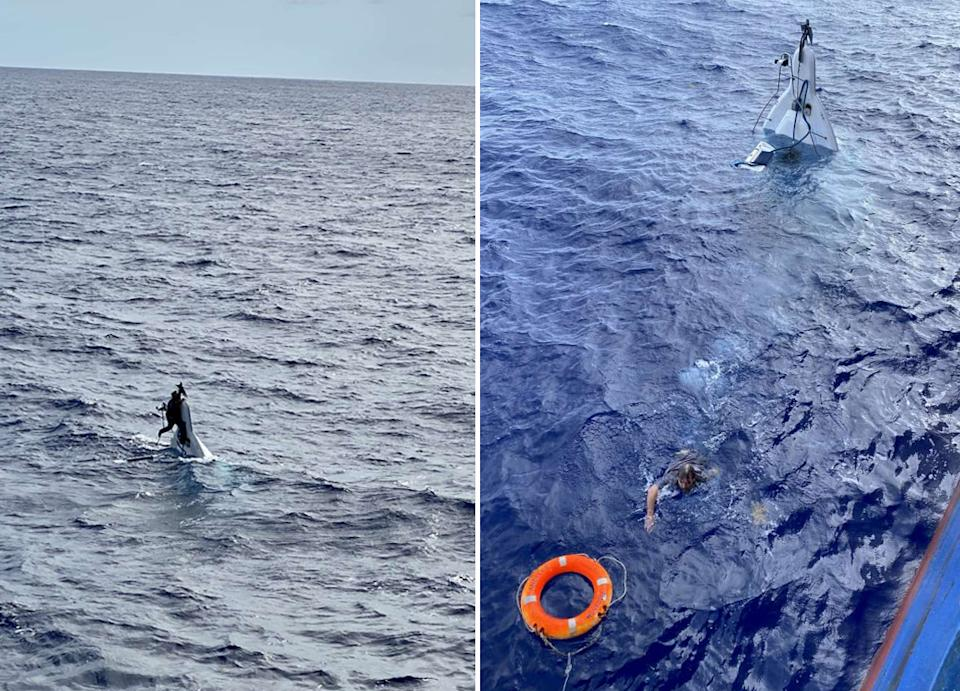 The 62-year-old Stuart Bee (left) on his capsized boat and (right) swimming to the rescuing ship.