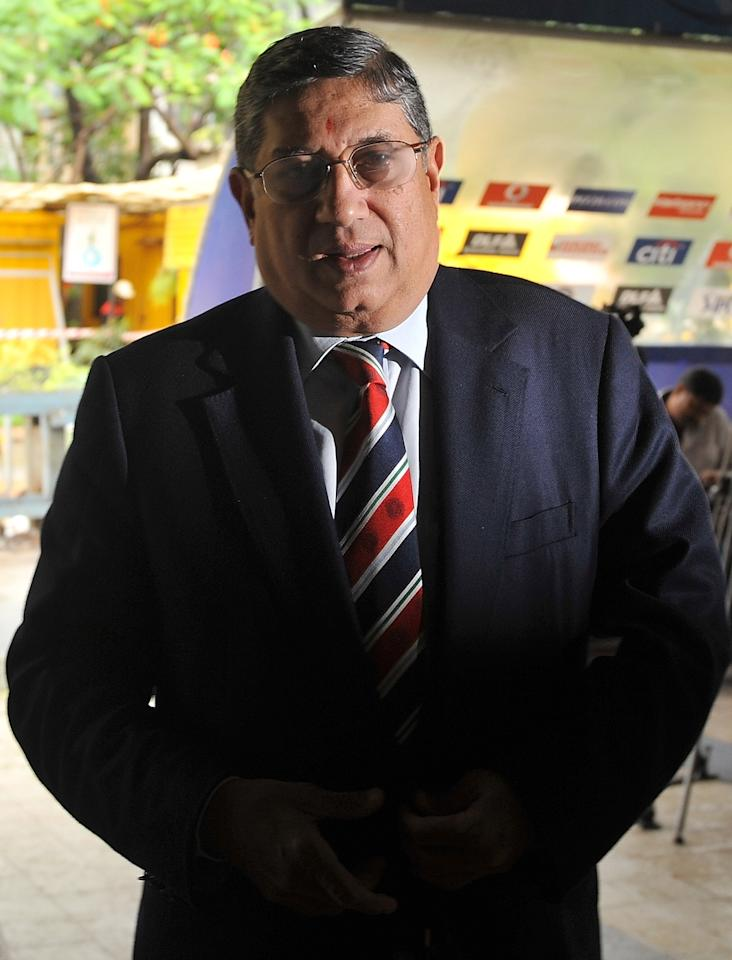 Board of Control for Cricket in India official N. Srinivasan arrives at BCCI headquarters for an Indian Premier League (IPL) Governing Council meeting in Mumbai.