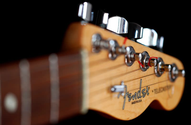 """A detail of a """"Made in USA"""" Fender Telecaster model electric guitar is pictured in Rome"""
