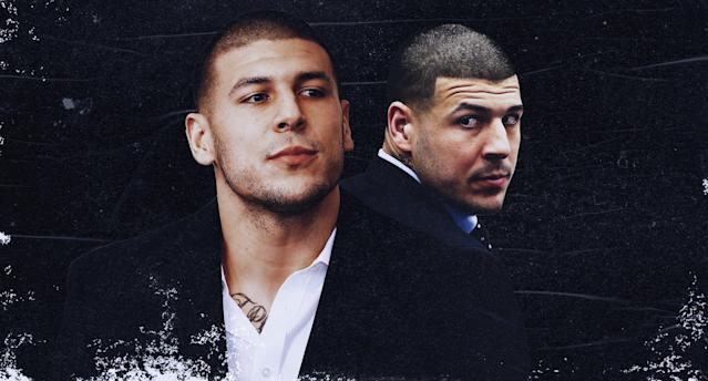 "Netflix's ""Killer Inside"" tries to make sense of Aaron Hernandez's murderous mindset. (AP/Paul Rosales/Yahoo Sports illustration)"