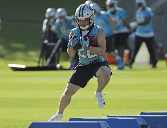 """<a class=""""link rapid-noclick-resp"""" href=""""/nfl/players/30121/"""" data-ylk=""""slk:Christian McCaffrey"""">Christian McCaffrey</a> cracked the RB top-15 last year in .5 PPR leagues. Can he repeat the feat with <a class=""""link rapid-noclick-resp"""" href=""""/nfl/players/26878/"""" data-ylk=""""slk:C.J. Anderson"""">C.J. Anderson</a> on roster? (AP Photo/Chuck Burton)"""