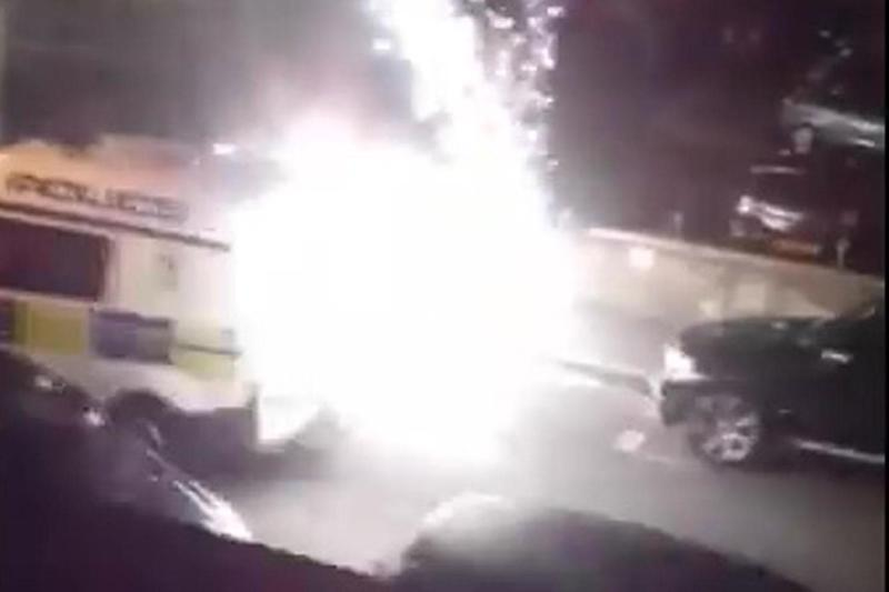 """""""Like a war zone"""": the van coming under fire on the Lisson Grove Estate. Taxi drivers were also targeted, with one having a window smashed. The Met said officers were able to disperse the mob"""