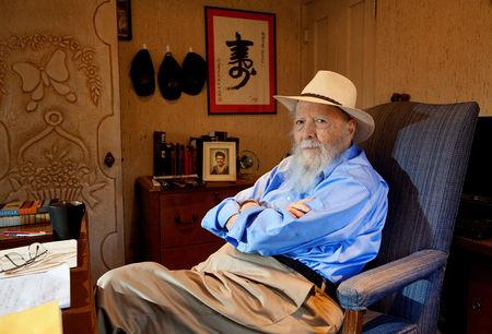 FILE PHOTO: Author Wouk sits at the desk in the office of his home in Palm Springs