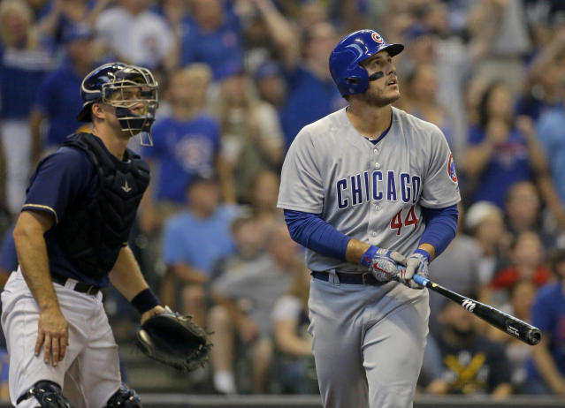 "Chicago Cubs first baseman <a class=""link rapid-noclick-resp"" href=""/mlb/players/8868/"" data-ylk=""slk:Anthony Rizzo"">Anthony Rizzo</a> is coming off a down year by his standards. Are you willing to invest in him come draft time? (AP Photo/Aaron Gash)"