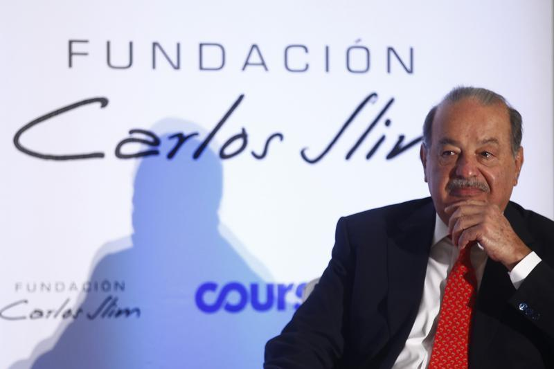 Mexican billionaire Carlos Slim attends a presentation of a digital platform inside Soumaya museum in Mexico City