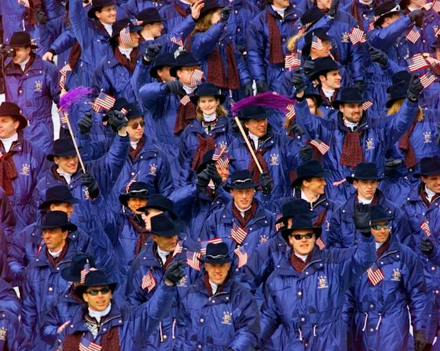 The United States team enter the stadium for the Opening Ceremony of the XVIII Winter Olympics begins at at the Minami Nagano Sports Park in Nagano, Japan, Saturday, Feb. 7, 1998. (AP Photo/Ed Reinke)