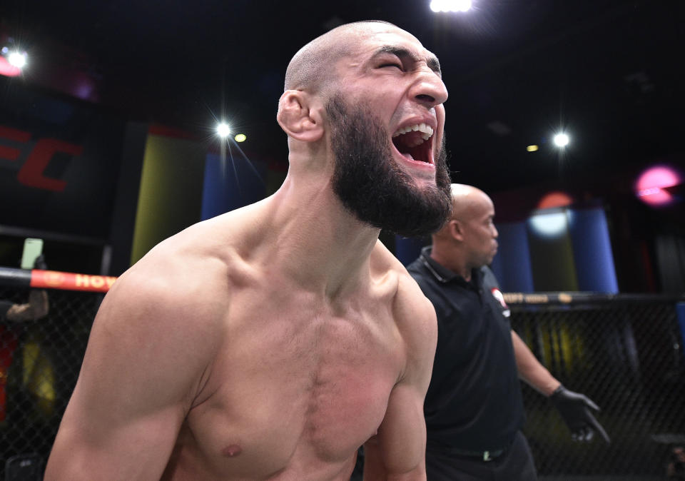 Khamzat Chimaev of Chechnya celebrates after his knockout victory over Gerald Meerschaert.
