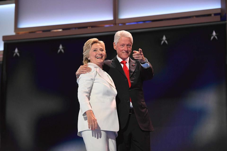 Hillary Clinton embraces Bill Clinton after accepting the Democratic nomination for president in 2016. Xxx Jg16967 Jpg A Eln Usa Pa (Photo by Jack Gruber/USA Today Network/Sipa USA)