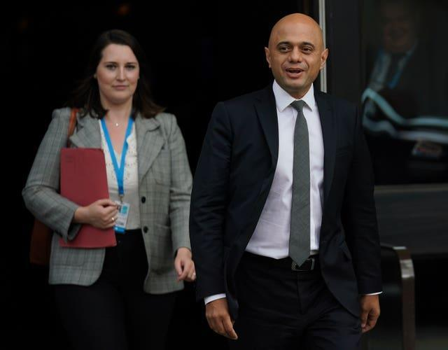 Health Secretary Sajid Javid pictured at the Conservative Party conference